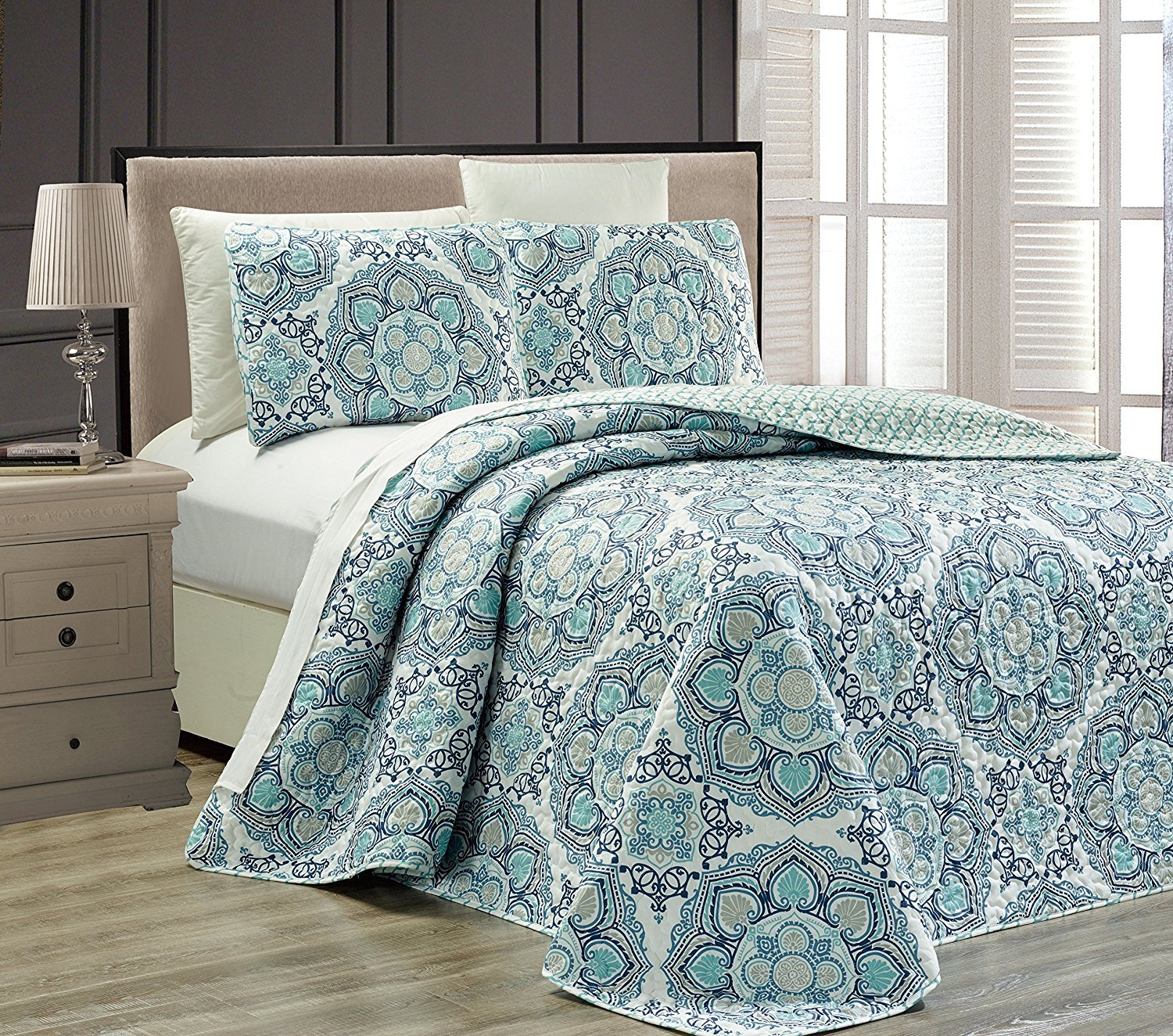Linen Plus King/California King 3pc Reversible Oversized Bedspread Set Medallion Print Navy Blue White Teal Aqua Taupe by Linen Plus (Image #1)