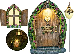 Opening Fairy Door and Window for Trees with Light – Glow in The Dark Yard Art Sculpture Decoration for Kids Room, Wall and Trees Outdoor | Miniature Fairy Garden Outdoor Decor Accessories
