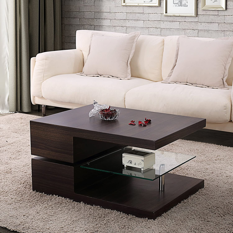 mecor Table Basse Rectangle Pivotante avec 3 Plateaux Table dappoint 80x 60 cm Nougat
