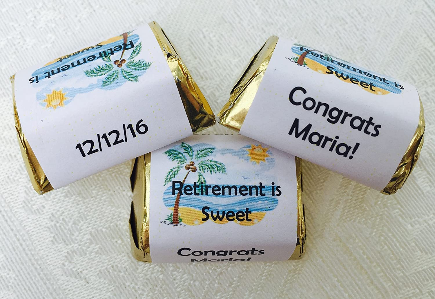 Amazon com 210 woman retirement party personalized candy wrappers adhesive stickers labels for your hershey nuggets makes great party favors