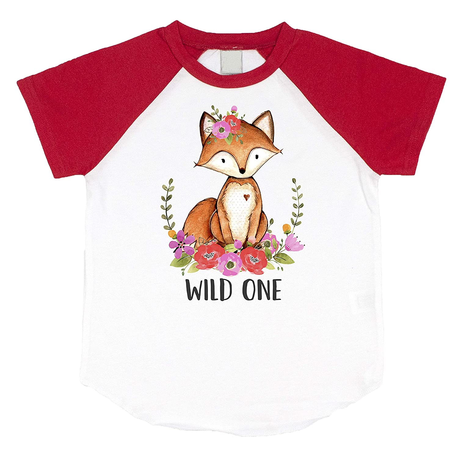 Wild One Wooldand Creatures Fox Girls 1st Birthday Red Raglan Shirt