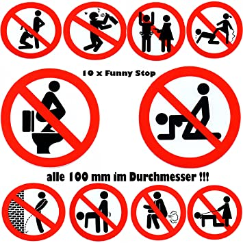 Sticker funny stops all 100 mm round no drunk no sex