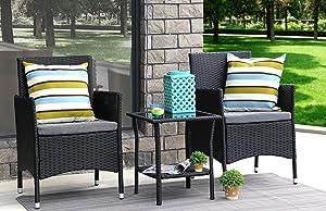 Baner Garden 3 Pieces Outdoor Furniture Complete Patio Cushion PE Wicker Rattan Garden Dining Set, Full, Black
