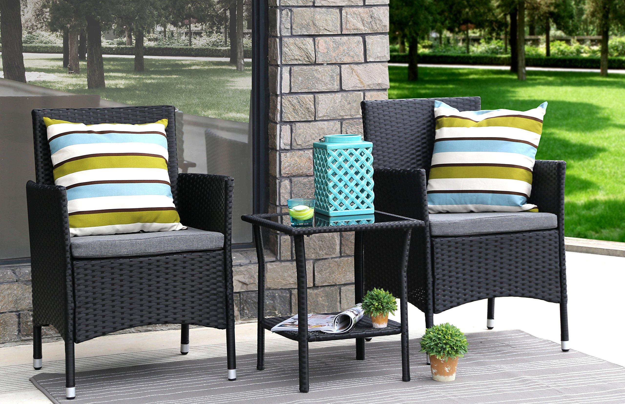Baner Garden 3 Pieces Outdoor Furniture Complete Patio Cushion PE Wicker Rattan Garden Dining Set, Full, Black (Q16)
