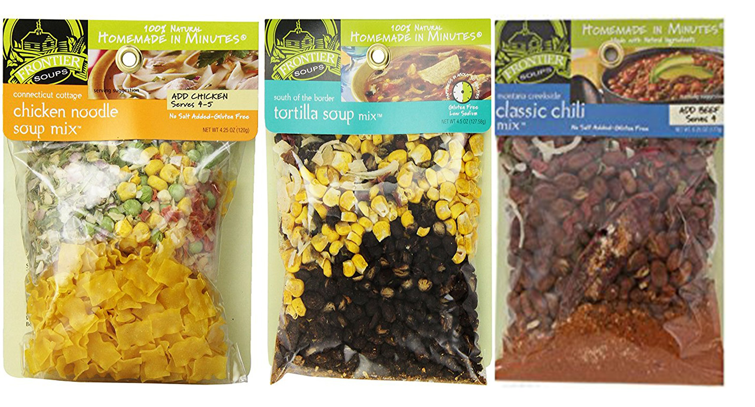 Frontier Soups Homemade In Minutes Soup Mix Comfort Food Bundle (1) Connecticut Cottage Chicken Noodle (1) South of The Border Tortilla (1) Montana Creekside Classic Chili