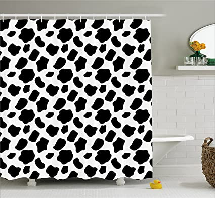 Ambesonne Cow Print Shower Curtain Cattle Skin Pattern With Scattered Spots Animal Hide Plain And