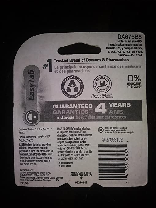 Amazon.com: Duracell Size 675 Hearing Aid Batteries - 6-pk. by Duracell: Health & Personal Care
