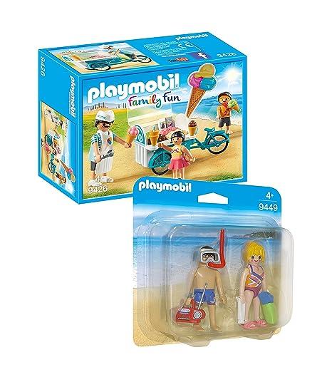 Playmobil Family Fun - Set: 9426 Vendedor de Helados con Bicicleta + 9449 Duo-