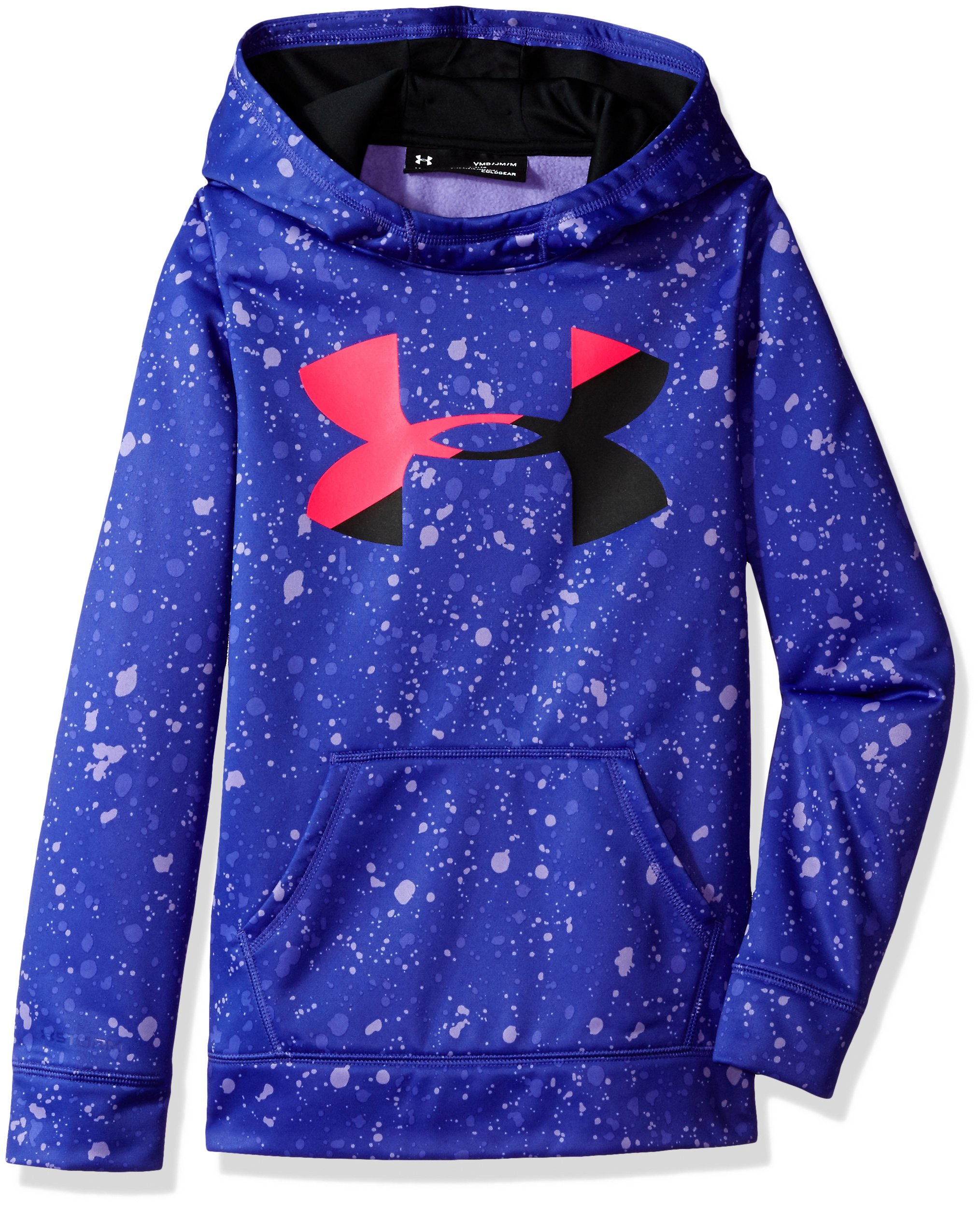 Under Armour Girls' Armour Fleece Big Logo Novelty Hoodie,Constellation Purple /Black, Youth X-Small by Under Armour