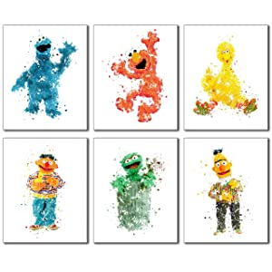 Sesame Street Watercolor Wall Art Prints - Set of 6 Photos Elmo Big Bird Cookie Monster Burt Ernie Oscar The Grouch