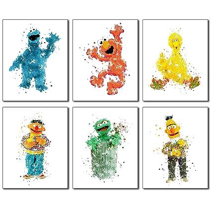Amazon.com: Sesame Street Watercolor Wall Art Prints - Set of 6 ...