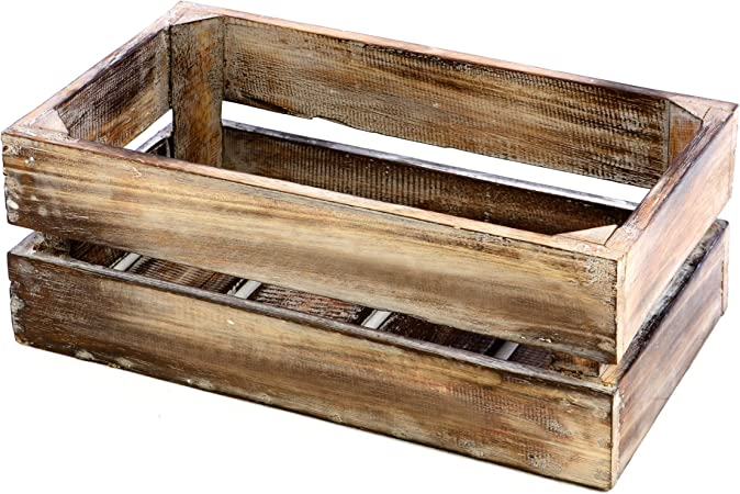 XXL Wooden Chest mottled with 2 drawers and handles fruit crates wine boxes