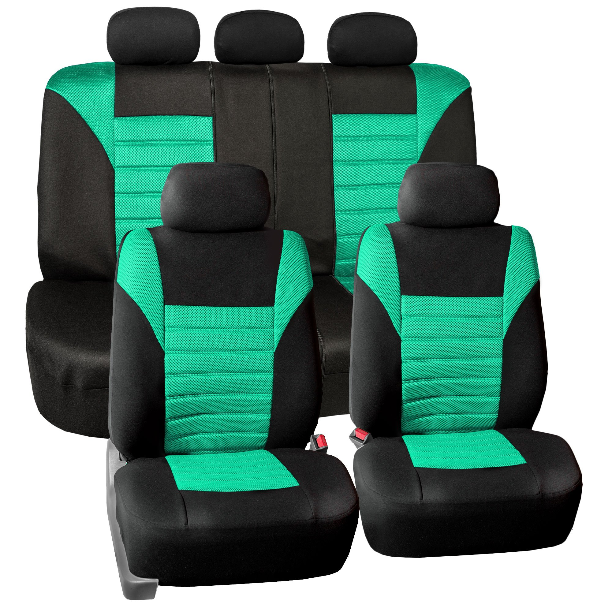 FH GROUP FH-FB068115 Premium 3D Air Mesh Seat Covers Full Set (Airbag & Split Ready), Mint/Black Color- Fit Most Car, Truck, SUV, or Van by FH Group