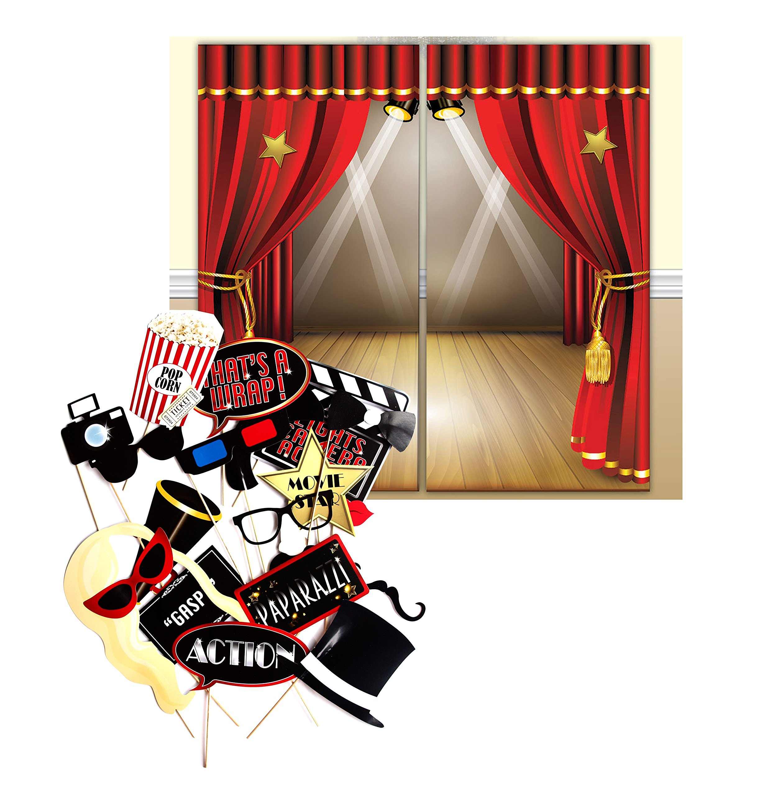 Hollywood Movie Themed Decoration Backdrop and Photo Booth Props by Express Novelties Online