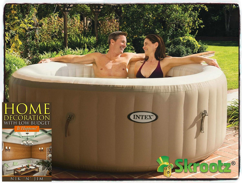 Hot Tub Spa Intex – inflable con portátil de burbujas suave masaje hinchable de paso persona 4 pasos burbuja calor Filtro Spa Jet, cartuchos de 2 cubos Spas Tubo de descuento venta