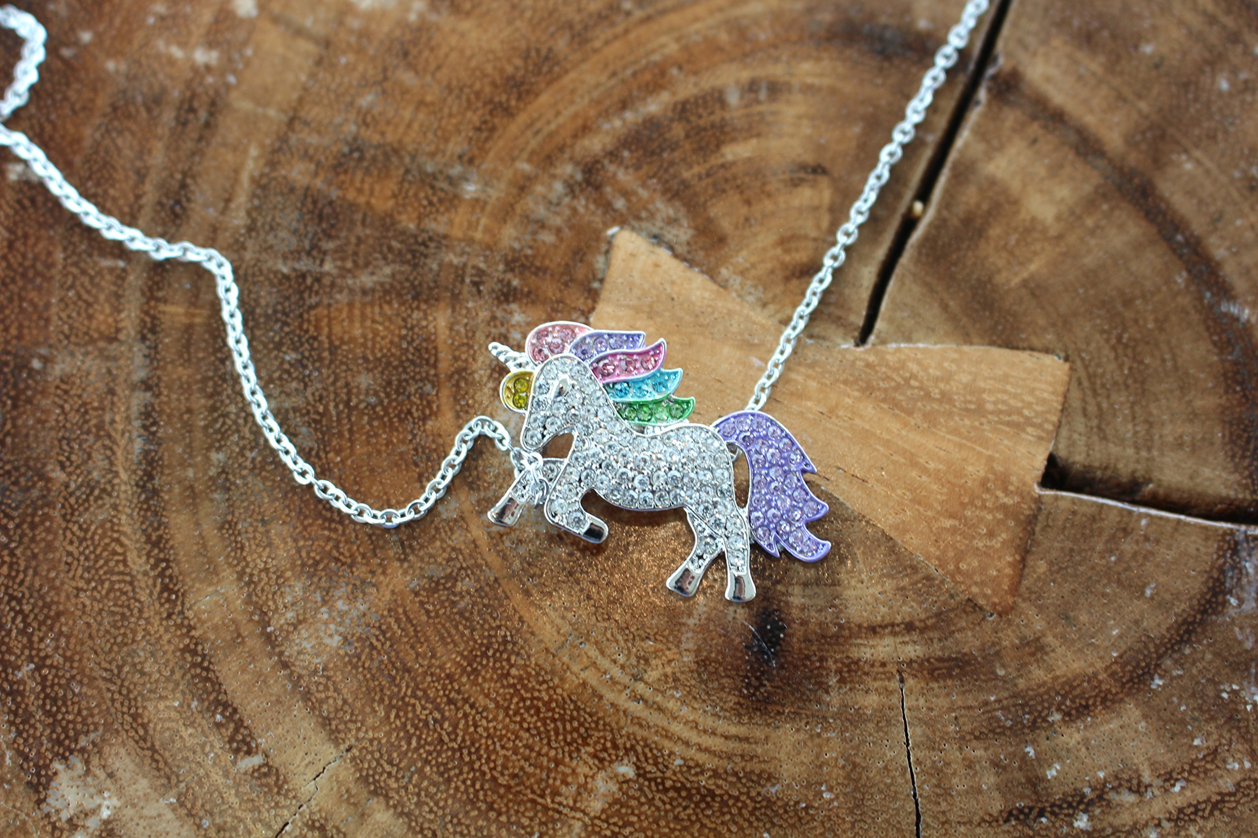 Persona Model Agency Unicorn Necklace - Rainbow Unicorn Necklace - Sterling Silver with Swarovski Elements