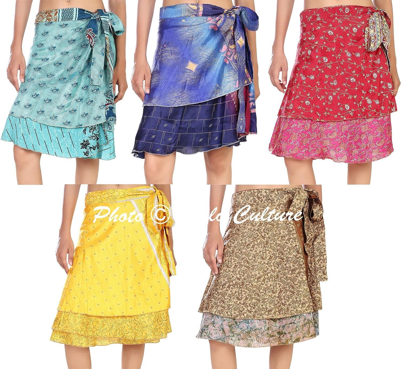 Silk fabric Mini skirt Vintage Silk Sari 2 Layer Magic Skirt Whole Lot 20 Pc Mini wrap skirt wrap skirt maxi wrap skirt silk skirt women
