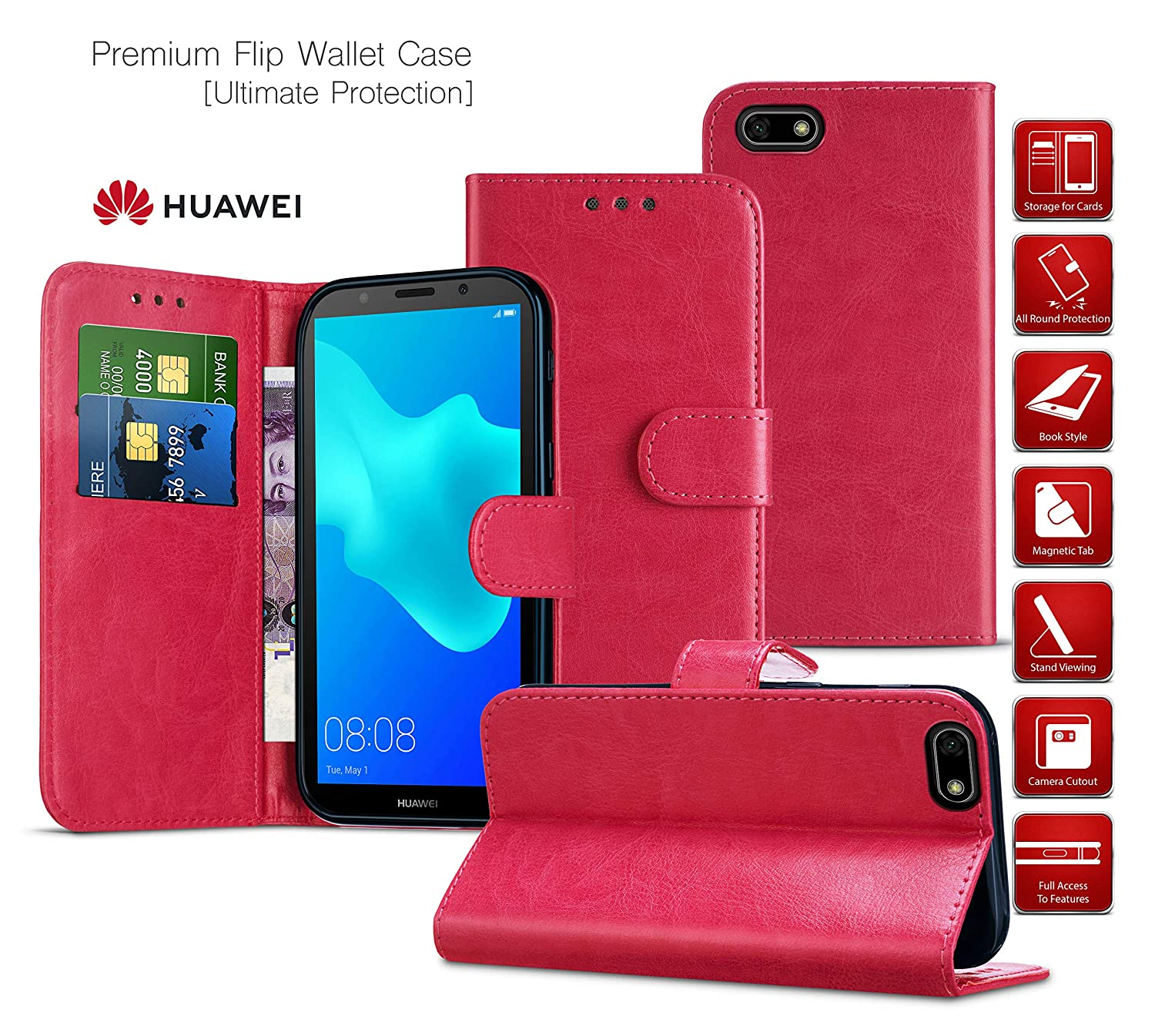 Huawei P Smart 2019 Wallet Case with Card Holder Leather Flip Notebook Case Cover Dark Purple Shockproof Case Magnetic for Phone Huawei P Smart 2019 // POT-LX1 Kickstand Protective Case Stand