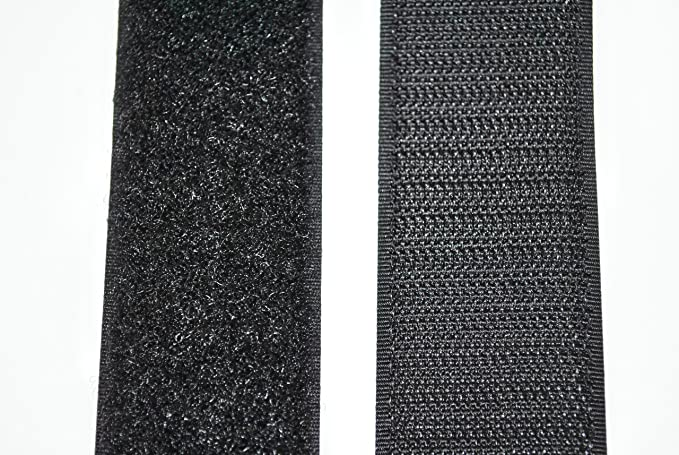 3, Klettband 1 Meter länge in 50mm breite Hakenseite schwarz selbstklebend