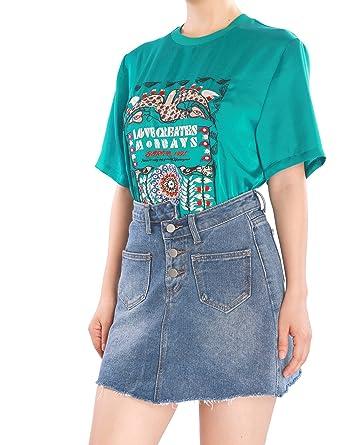 43d80e947d Amazon.com: May&Maya Women's Denim Mini Destroyed A-line Skirt Stone Wash  Light Demin Skater Skirt: Clothing