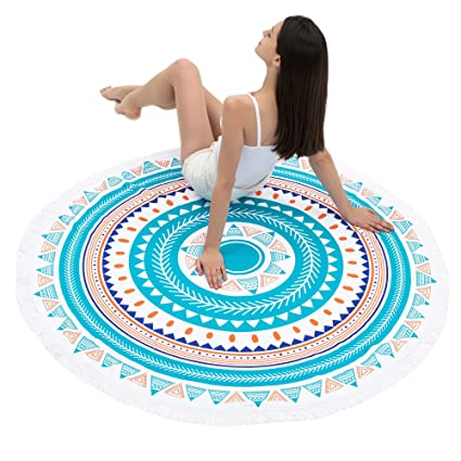 Redonis Round Beach Towel (30 Options) Oversize Colorful Girls Beach Blanket 60 Inches Womens
