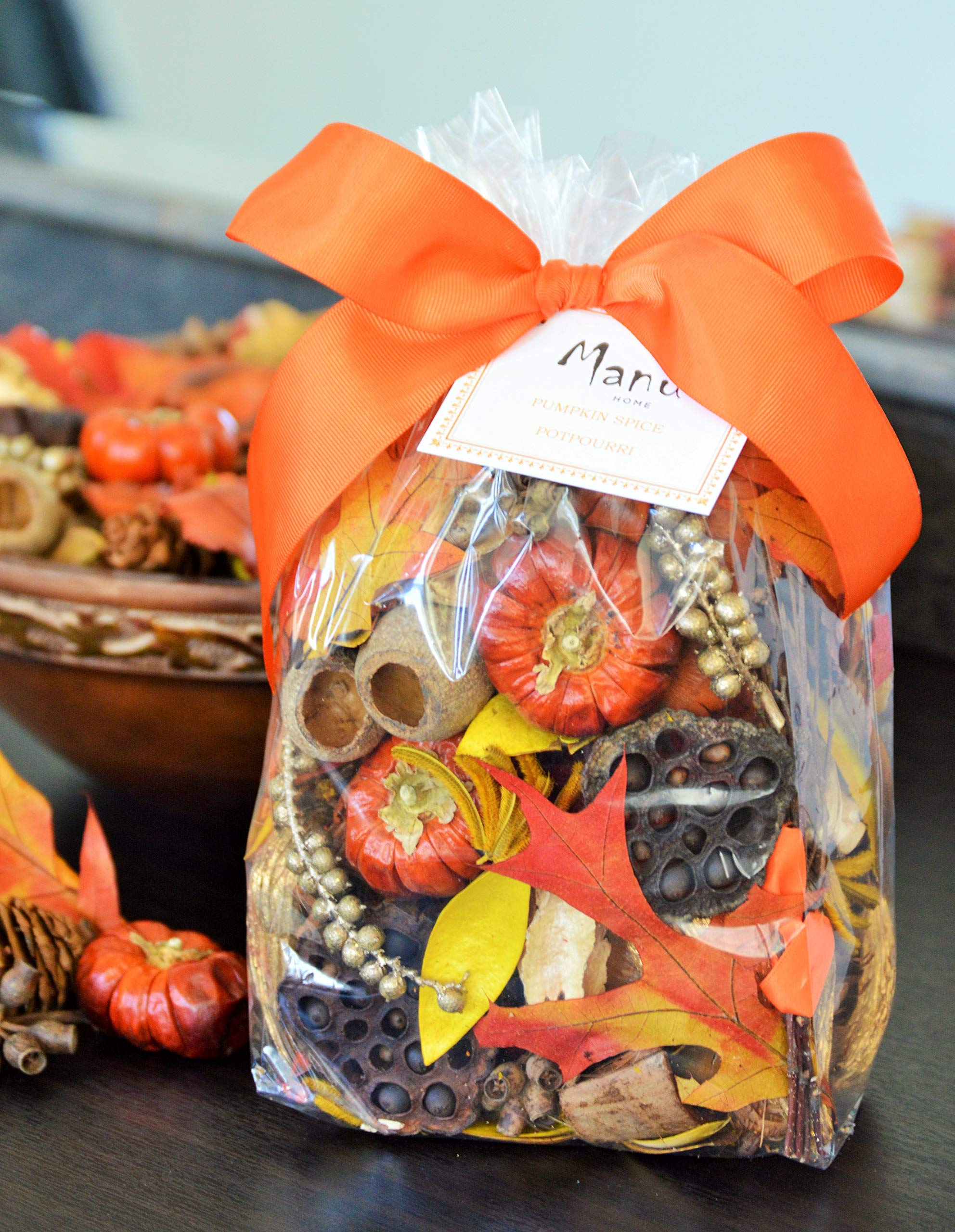 Manu Home Pumpkin Spice Large Potpourri Bag-12 oz Botanicals ~ Made with All Essential Oils, Plant Materials and Beautiful Fall Colors~ Made in USA