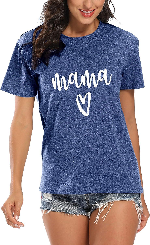 Blessed Mama Shirt Women Letter Print Mom Life T-Shirt Short Sleeve Summer Mommy Tee Tops…