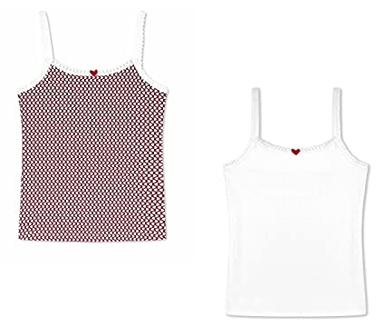 1226261391192 Antebies Girls Cami Undershirts- Tagless Organic Cotton Tank Tops Red with  White hearts 2 Pk