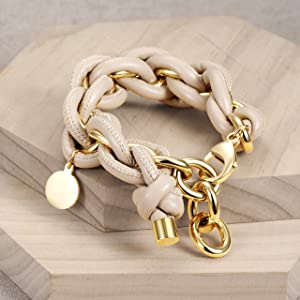 JINBAOYING Leather Chain Bracelet Women Girls Wide Cuban Curb Link Bracelet Gold Plated Stainless Steel 9.5 Inches Chain Link with Round Disc Charm