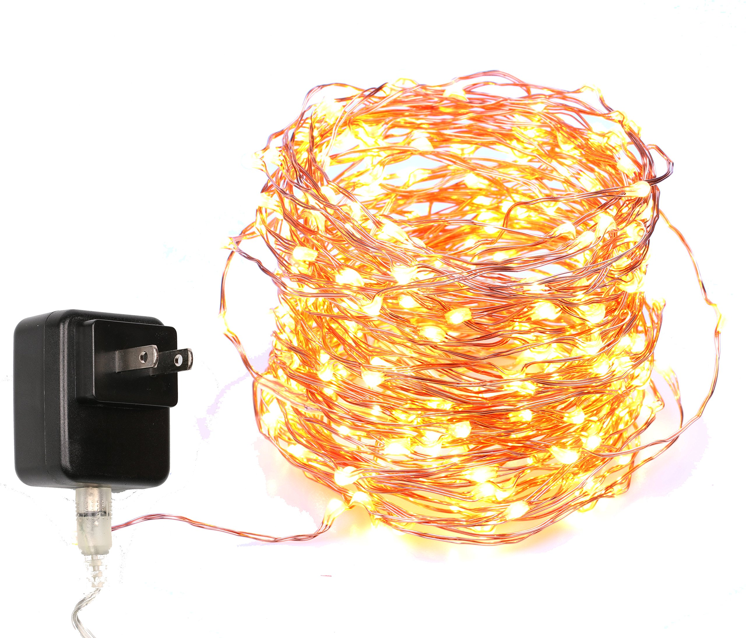 40 Feet Starry String Lights Warm White Color LED's on a Flexible Copper Wire - LED String Light with 120 Individually Mounted LED's-UL Adaptor Included by MineTom