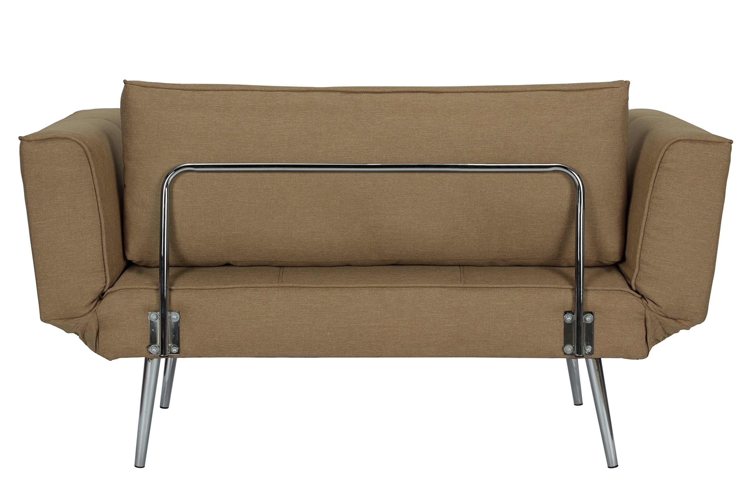 DHP Euro Sofa Futon Loveseat with Chrome Legs and Adjustable Armrests - Tan by DHP (Image #7)