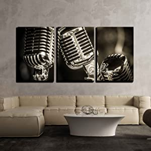 """wall26 - 3 Piece Canvas Wall Art - Closeup of Chromed Retro Recording Studio Microphones - Modern Home Decor Stretched and Framed Ready to Hang - 16""""x24""""x3 Panels"""