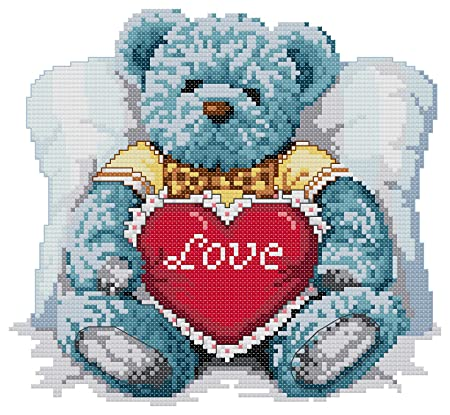 14 Count Aida Needlepoint Cross Stitch Teddy Bears Kit With Colorful
