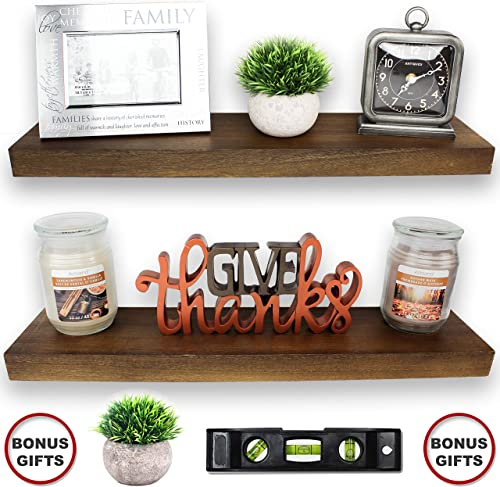 2 Set Floating Shelves – Real Wood Mounted Wall Shelf – Kitchen Bathroom Bedroom Bedrooms Living Room – 24in x 5.5in x 1.5in Hanging Shelf – Paulownia W Walnut Finish – Mounts and Level Tool Included