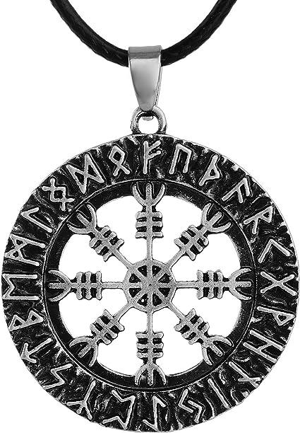 Vegvisir colgante de acero inoxidable con cadena brújula celtas vikingo