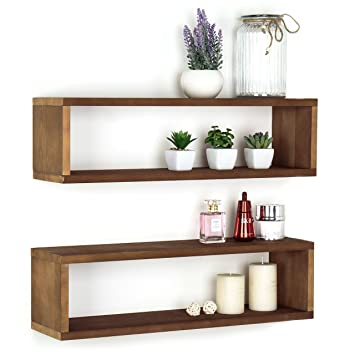 MyGift Acabado de madera montado en la pared estante flotante de 24 pulgadas, pantalla rectangular cajas de sombra, juego de 2, madera, marrón claro, ...