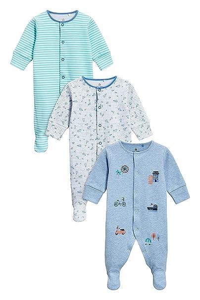next Bebé-Niños Pack De Tres Pijamas Tipo Pelele con Medios De Transporte (0 Meses - 2 Años) Azul/Verde 1.5-2 años: Amazon.es: Ropa y accesorios