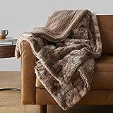 "Amazon Basics Fuzzy Faux Fur Sherpa Throw Blanket, 50""x60"" - Brown Tie Dye"