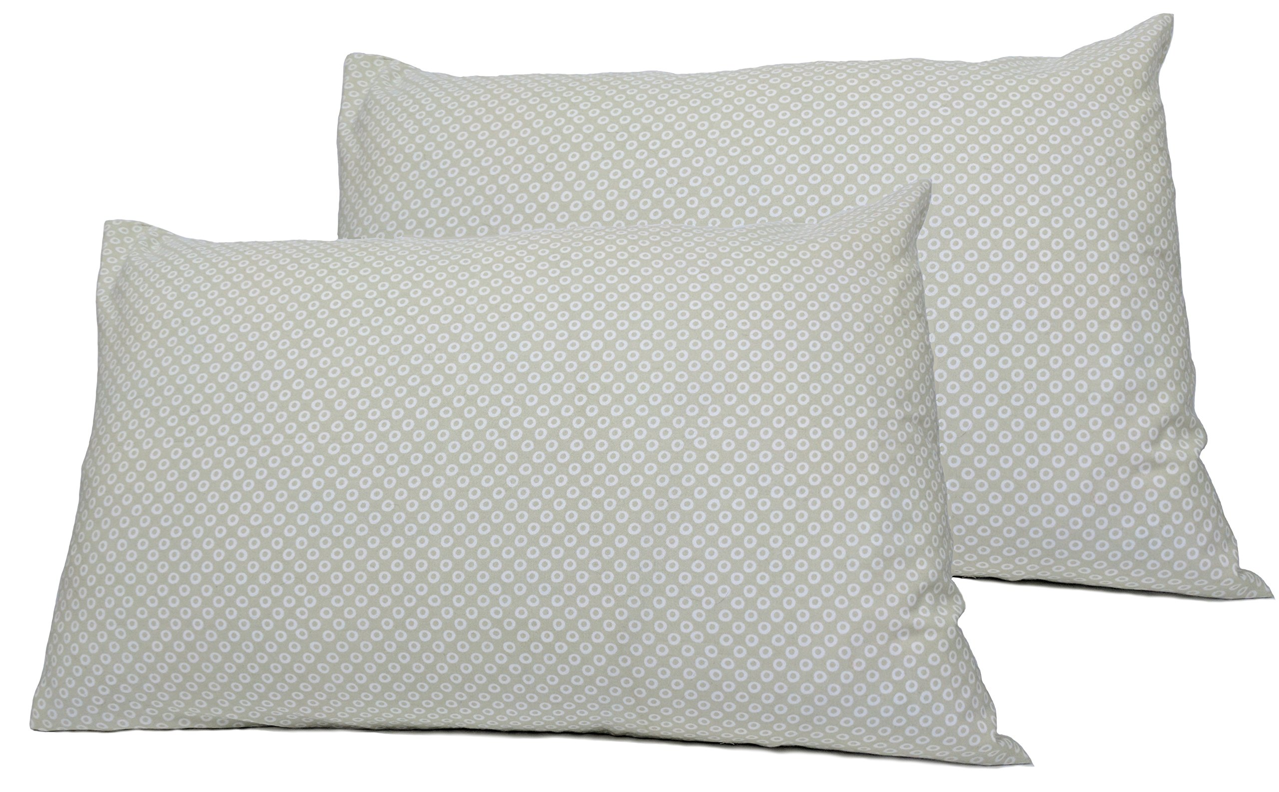 2 Toddler or Travel Pillowcases in Organic Cotton to Fit 13 x 18 and 14 x 19 Pillow, Shibori Print (Grey)