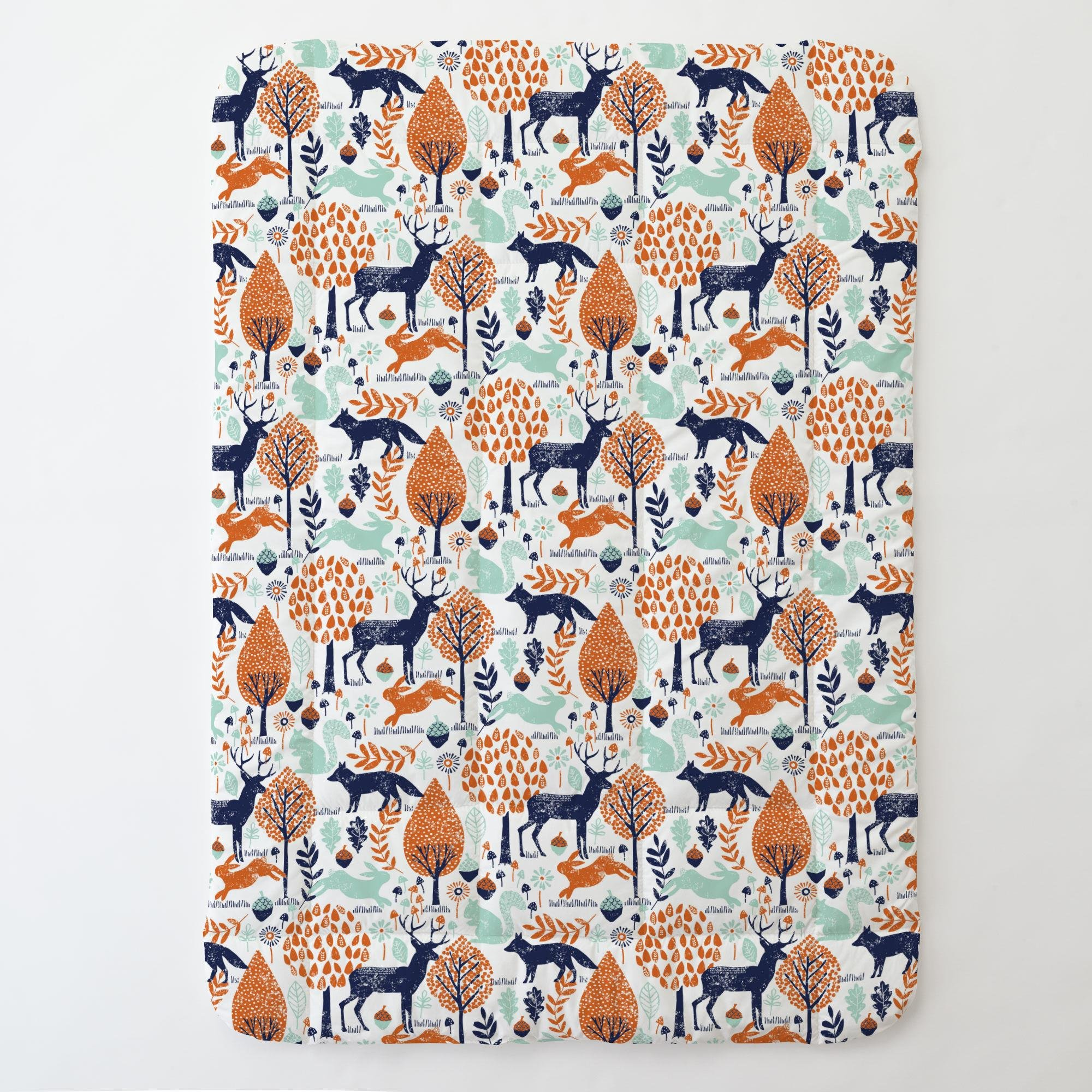 Carousel Designs Navy and Orange Woodland Animals Toddler Bed Comforter