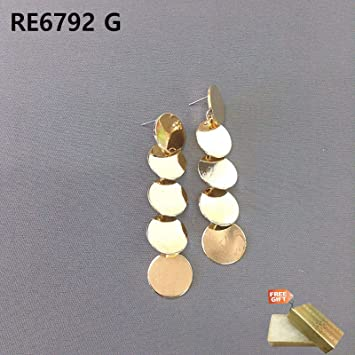 2ab30d7ad Simple Gold Finished Pentadruple Circle Shapes Drop Dangle Post Earrings  For Women Set + Gold Cotton