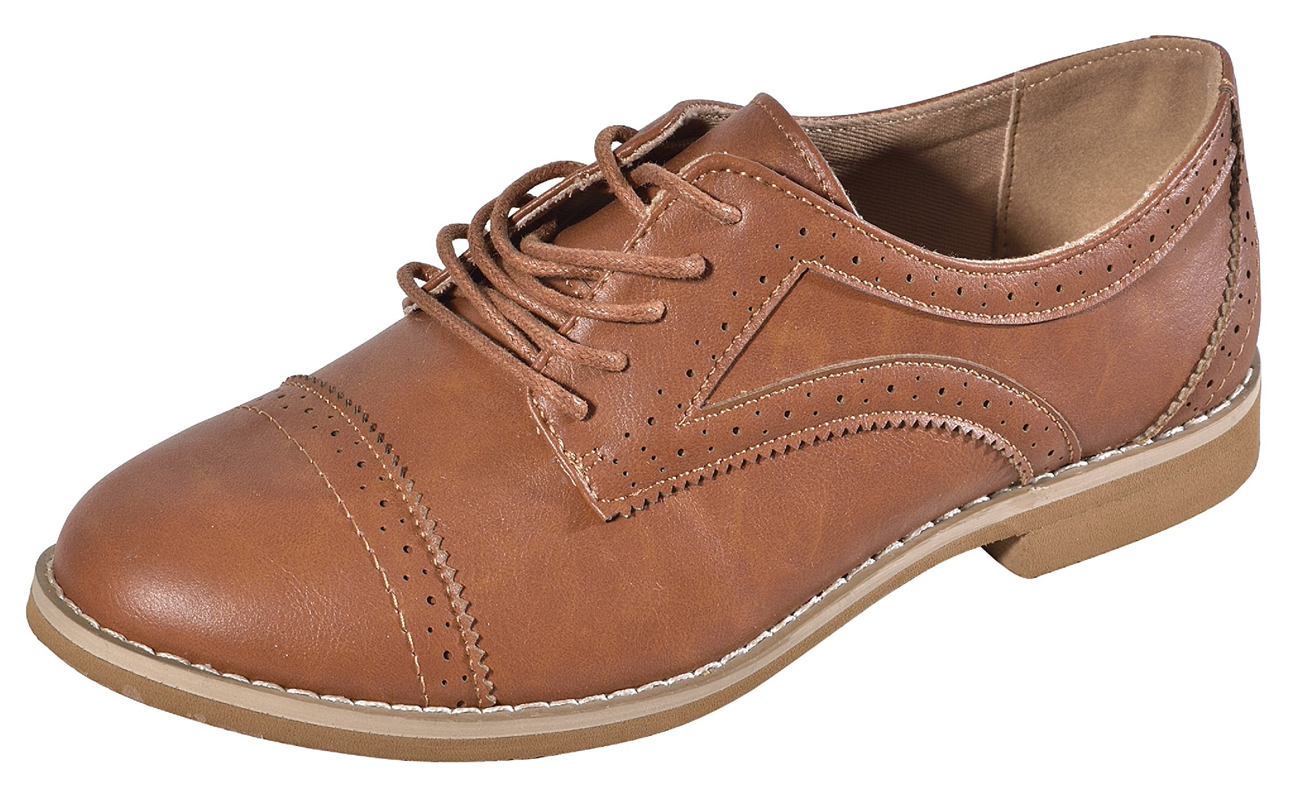 Comfortable Alyn Brown Designer Faux Leather Oxford Wingtip Lace Slip On Comfy Low Flat Heel Closed Toe Cute Modern Going Back to School Sneaker Shoe for Sale Women Teen Girl (Size 9, Tan)