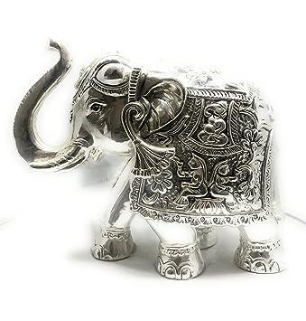 Pushparaj Jewellers 999 शुद्ध सिल्वर खोखला हाथी की मूर्ति एंटीक पीस 4 इंच  घर की सजावट / गिफ्ट/पूजा के लिए: Amazon.in: होम और किचन