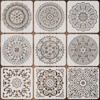9 Pack 12 x 12 Inch Mandala Stencils Large Size Mandala Templates Reusable Tile Floor Stencil Laser Cut Painting Stencil…
