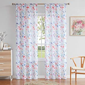 """Fragrantex Long Floral Sheer Curtains 95"""" Long for Bedroom,Colorful Window Curtains Farmhouse Style Beautiful Living Room Panels,Rod Pocket 40"""" W x 95"""" L"""