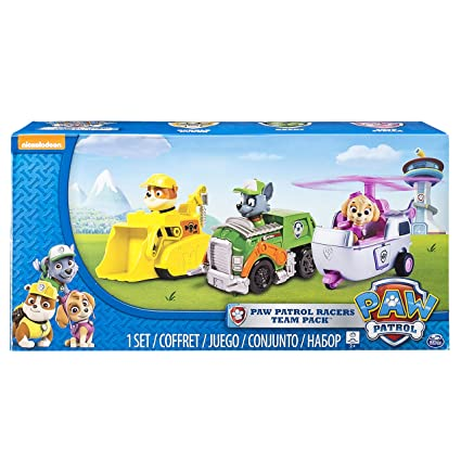 fabef595a Amazon.com: Paw Patrol Racers 3-Pack Vehicle Set, Rubble/Rocky/Skye: Toys &  Games