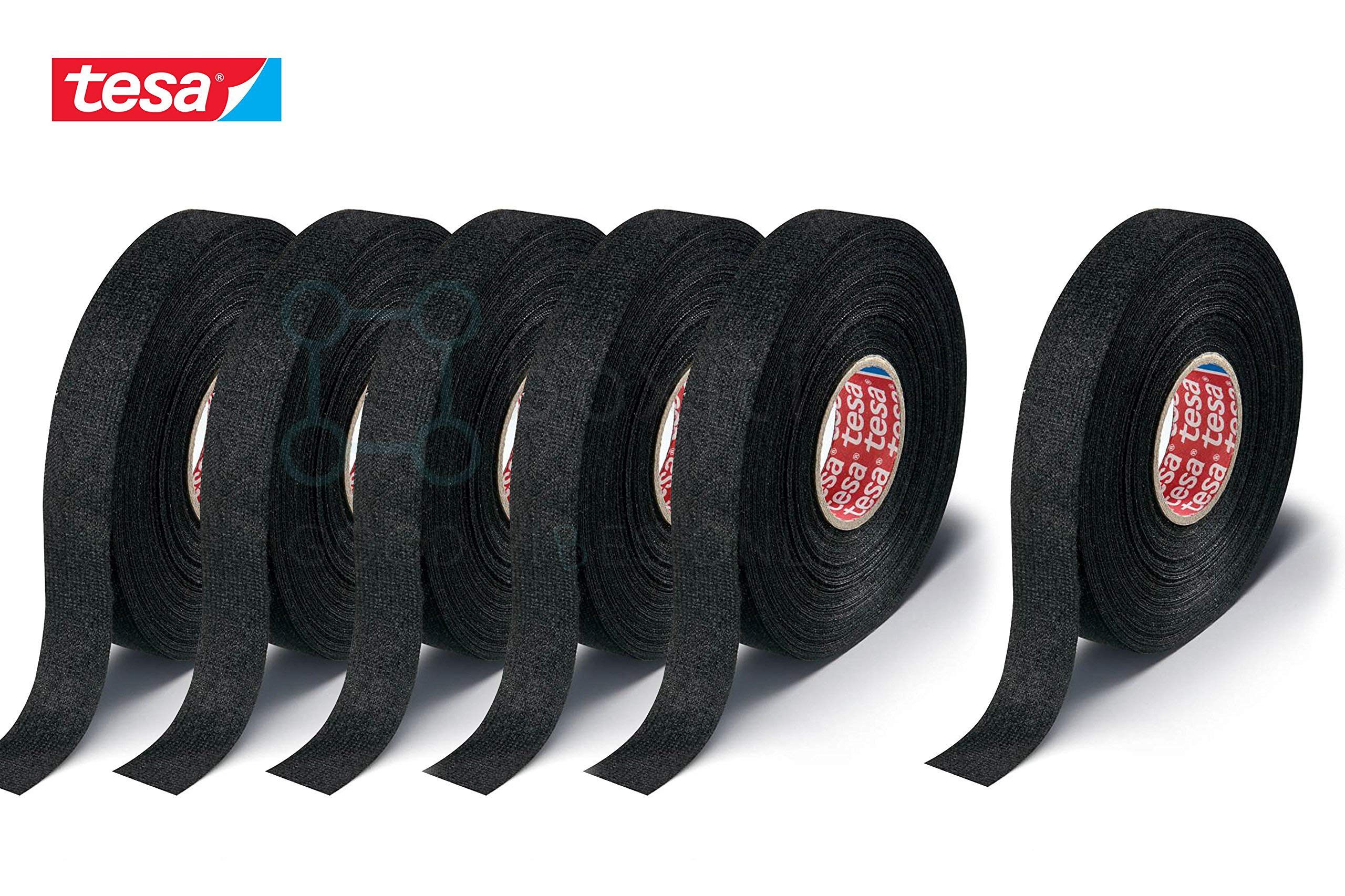 Boxiti set of 6 pcs Tesa 51608 Black Fuzzy Fleece Interior Wire Loom Harness Tape 19 mm X 15 Meters
