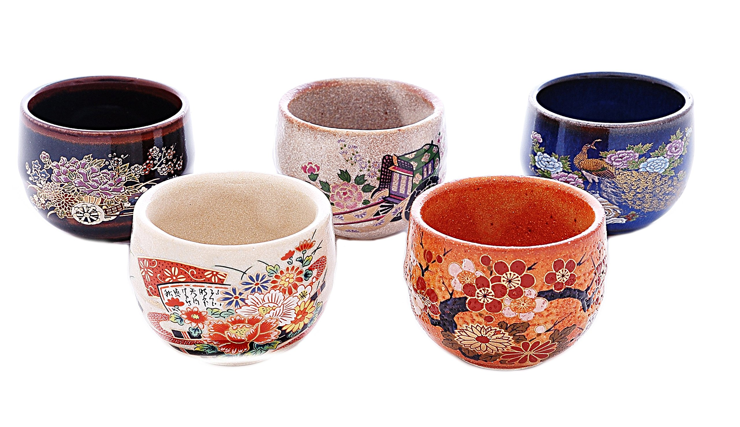 5PCS JAPAN SAKE CUPS WITH BEAUTIFUL OLD JAPANESE PICTURE
