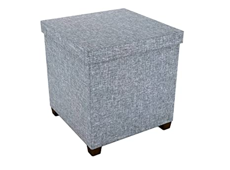 Brilliant Dar Living Storage Ottoman With Wooden Feet 17 X 17 Light Gray Ncnpc Chair Design For Home Ncnpcorg