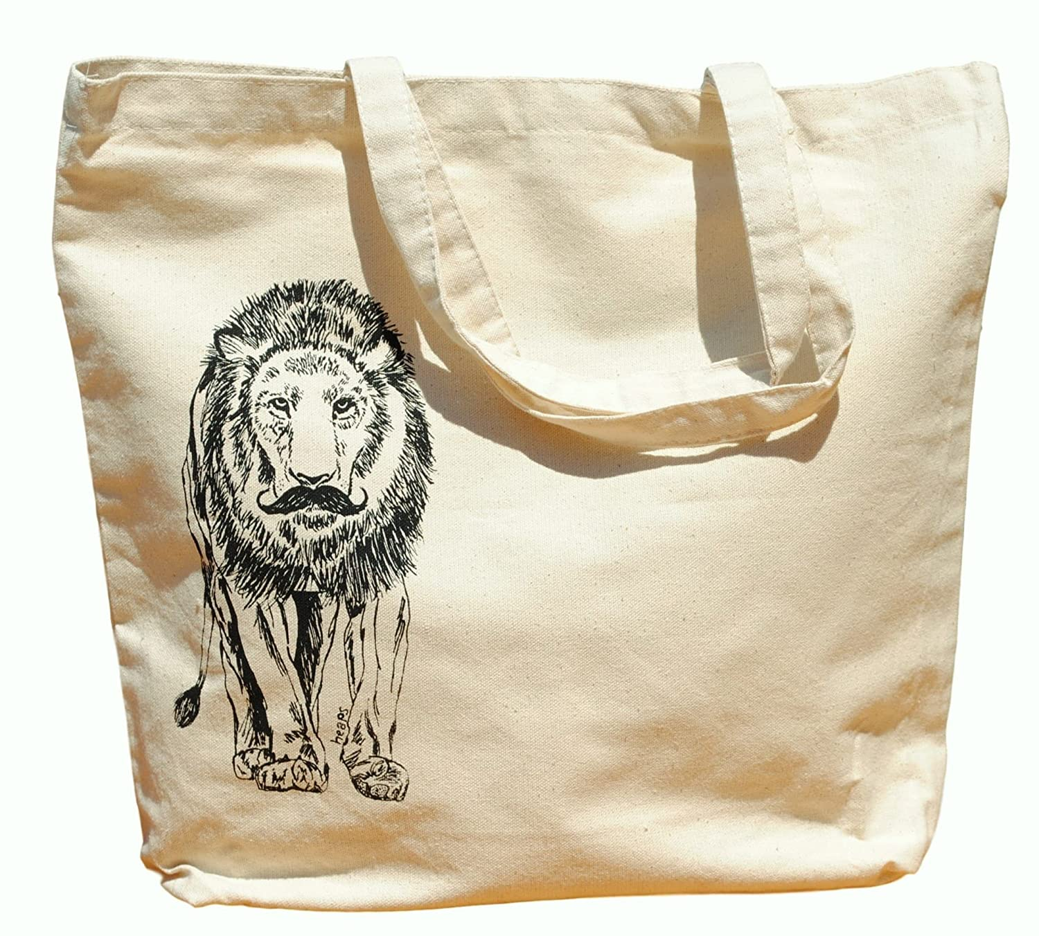Canvas Tote Bag - Hand Printed Lion with a Mustache - Market Travel Beach Shopper Grocery School